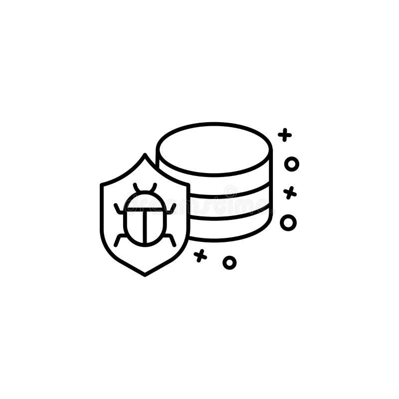 Database servers hacker virus icon. Element of cyber security icon royalty free illustration