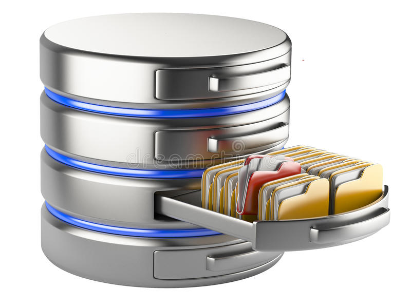 Database storage concept. On servers in cloud. 3D image isolated on white