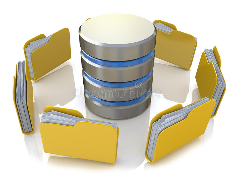 Database storage concept on servers in cloud. 3D image isolated stock illustration