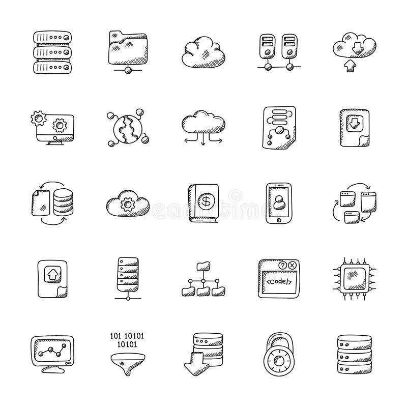 Database and Storage Flat Icons stock illustration