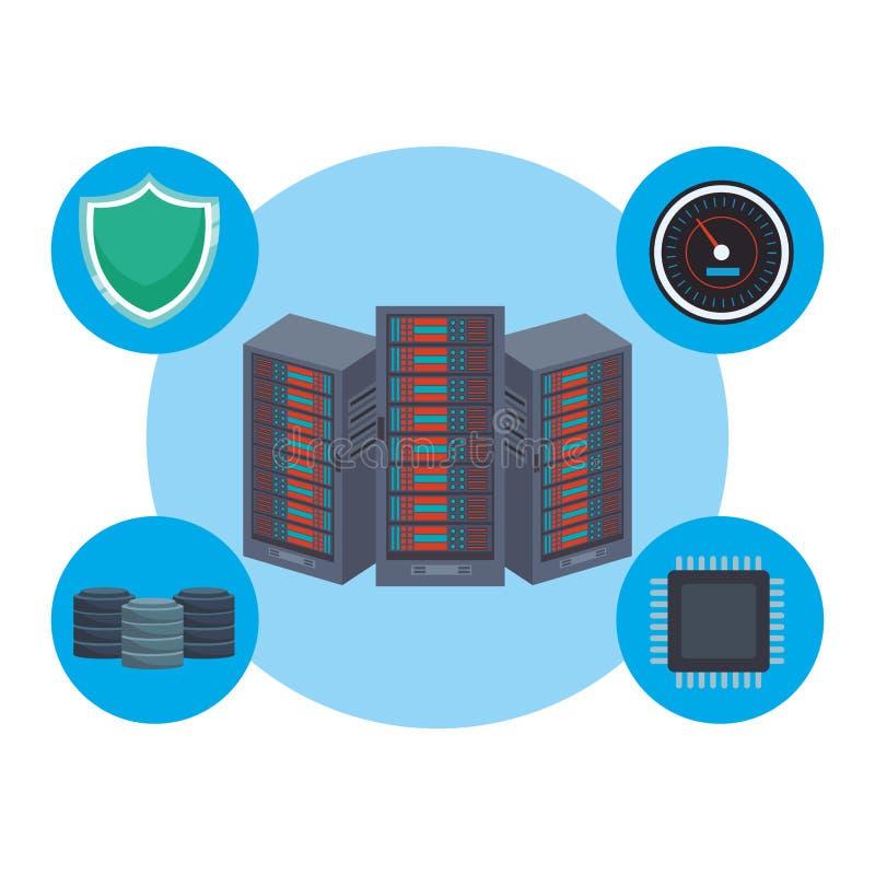 Database storage with icons stock illustration