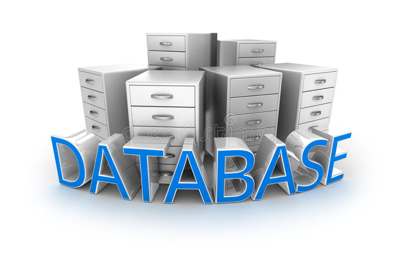 Database text and office containers. 3d Concept royalty free illustration