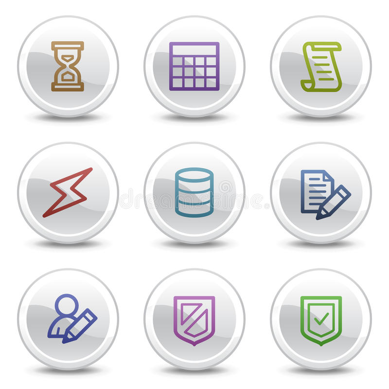 Download Database Web Colour Icons, White Circle Buttons Stock Vector - Image: 10255882