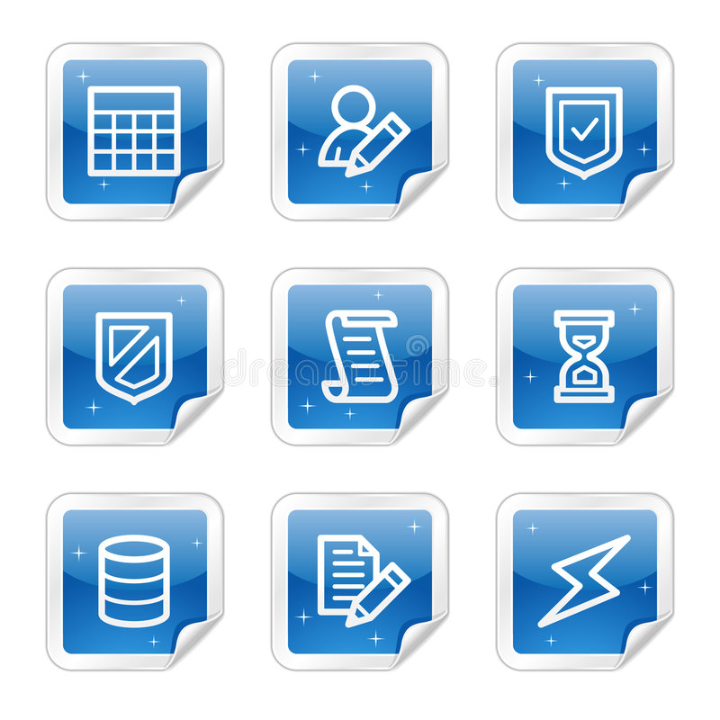 Download Database Web Icons, Blue Glossy Sticker Series Stock Photos - Image: 8643023