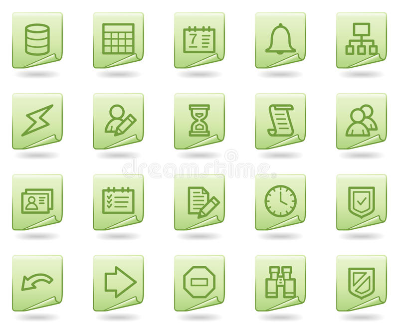 Database web icons, green document series. Vector web icons set. Easy to edit, scale and colorize vector illustration