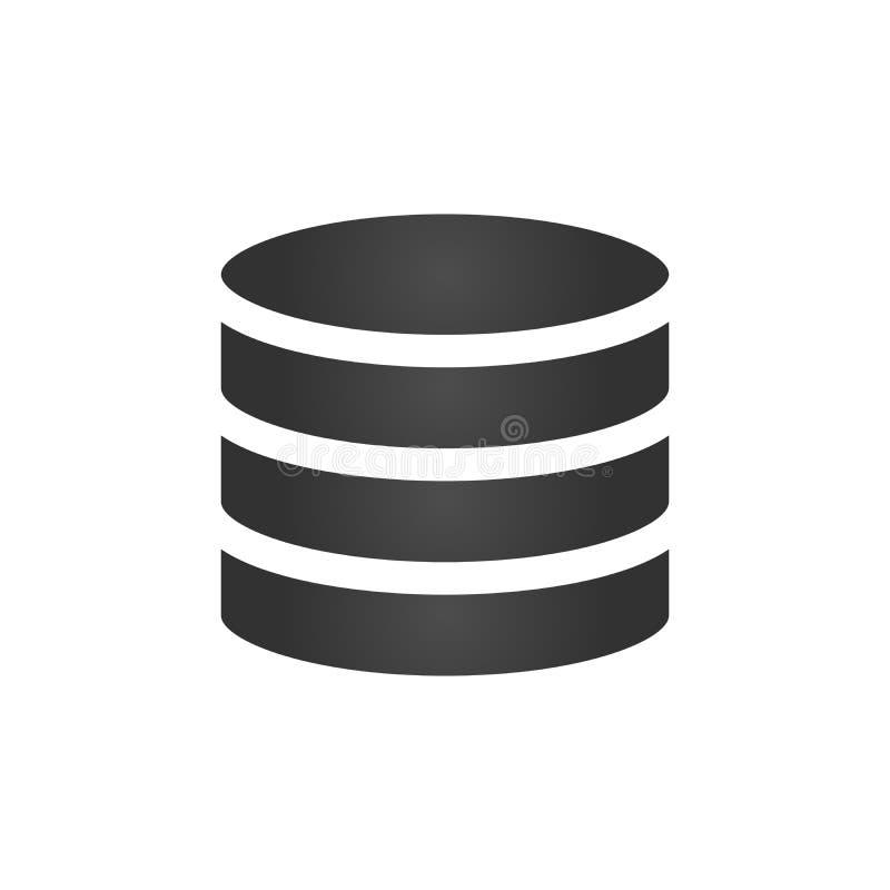 Databasepictogram, vectordieillustratie op witte achtergrond wordt geïsoleerd stock illustratie