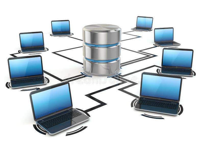 Databaslagring och bärbara datorer mot blått kulört begreppsnätverk pipes nätverkande skyen vektor illustrationer