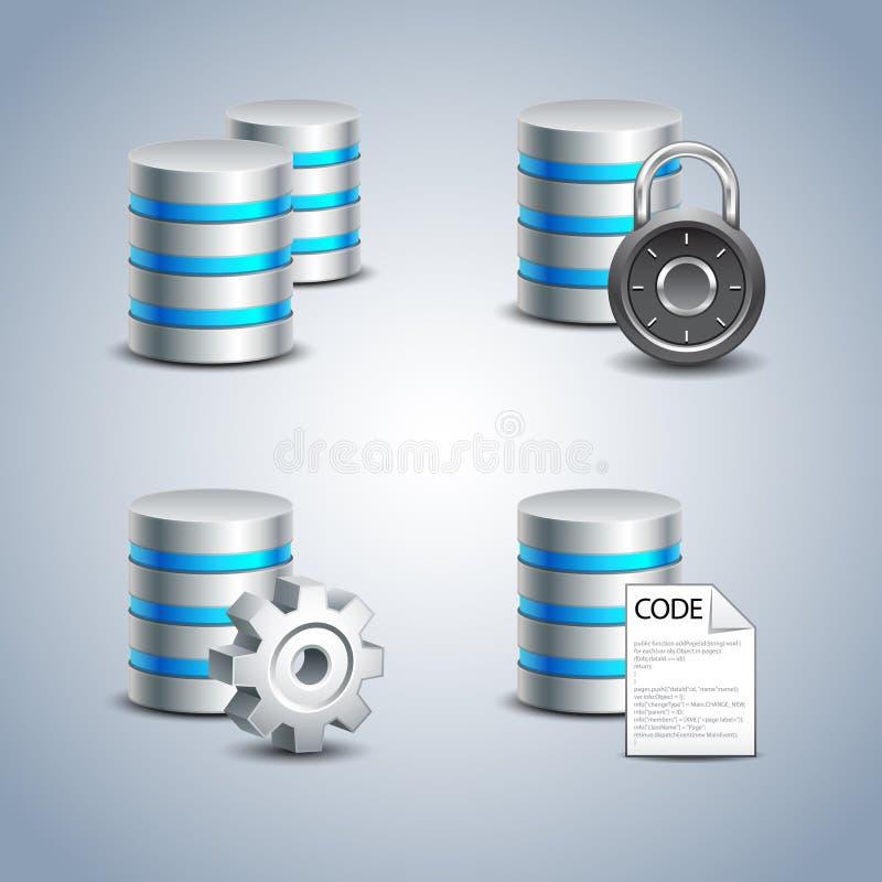 Databassymbolsuppsättning nr. 1 stock illustrationer