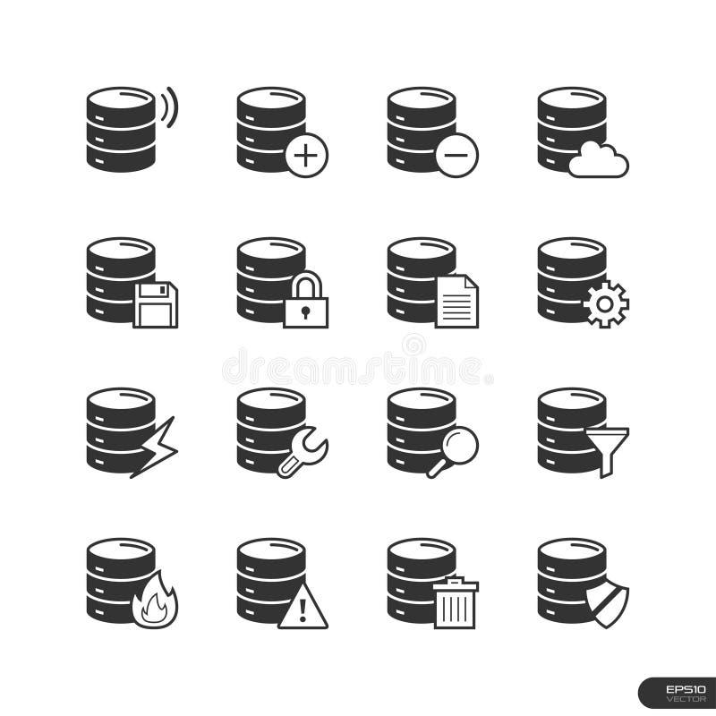Databassymbolsuppsättning - vektorillustration vektor illustrationer