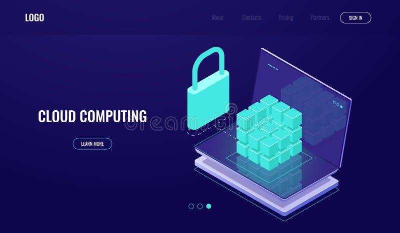 Databastillträde, för data skydd säkert, datasäkerhet, serverrum, moln som beräknar, bärbar dator med digital coube, mörker vektor illustrationer