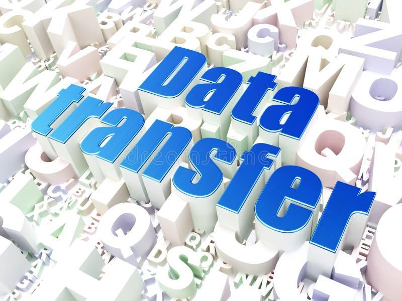 Databegrepp: Dataöverföring på alfabetbakgrund stock illustrationer
