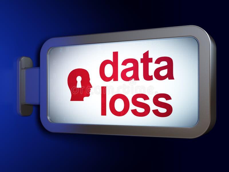 Databegrepp: Dataförlust- och huvudWhis nyckelhål på affischtavlabackg stock illustrationer
