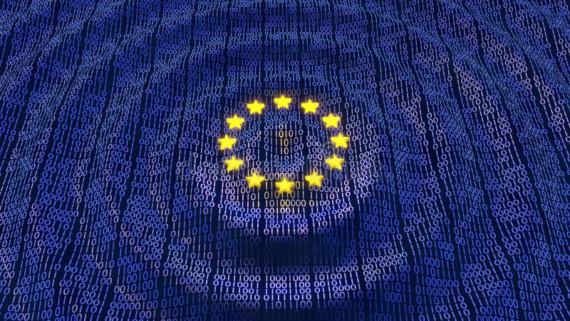 Databitar och byte för EU GDPR vinkar krusningar royaltyfri illustrationer