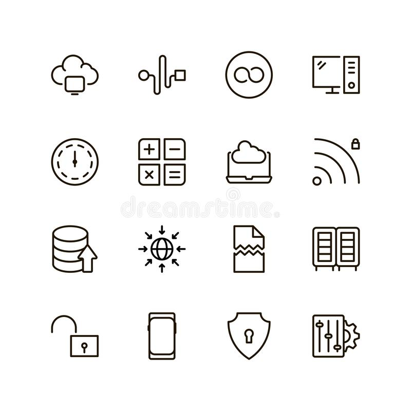 Data flat icon. Databse icon set. Collection of high quality outline server pictograms in modern flat style. Black information symbol for web design and mobile stock illustration