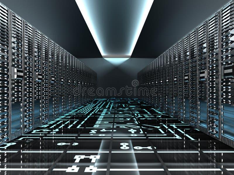 datacenter主机服务的3d服务器室回报 向量例证