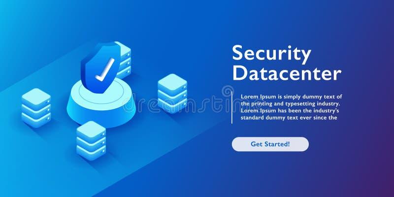 Datacenter安全等量传染媒介例证 抽象3d主服务器或数据中心室背景 网络或计算机主机 库存例证