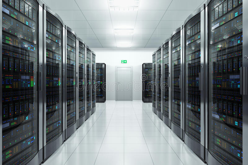 datacenter的服务器空间 库存例证