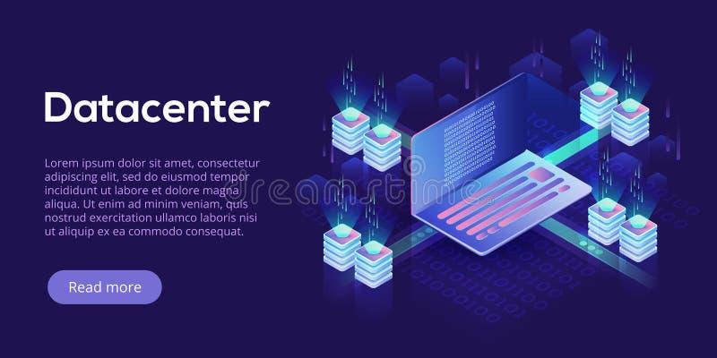 Datacenter等量传染媒介例证 主持se的抽象3d 库存例证