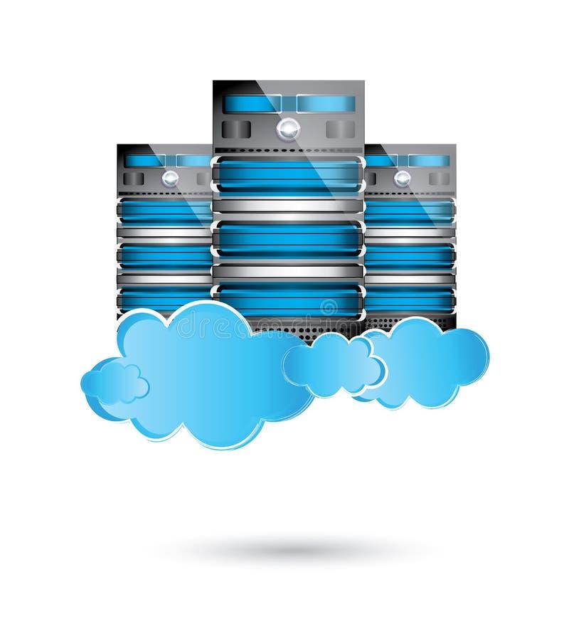 Datacenter серверов, принципиальная схема облака вычисляя иллюстрация вектора