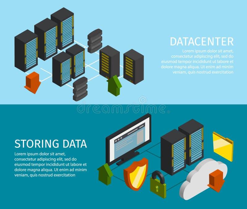 Datacenter baneruppsättning royaltyfri illustrationer