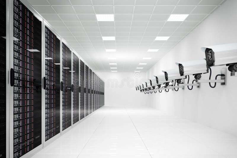 Datacenter com câmera do cctv ilustração stock