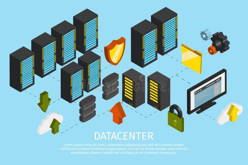 Datacenter Gekleurde Affiche vector illustratie
