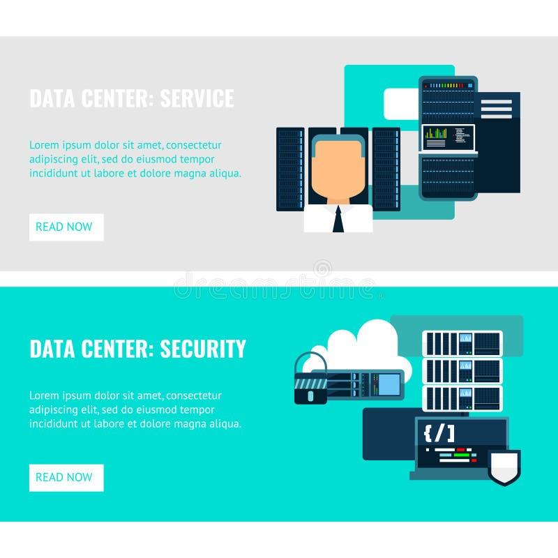 Datacenter Horizontale Vlakke Banners stock illustratie