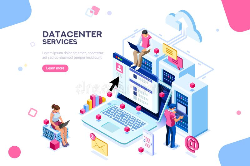 Datacenter internet Administrator Concept Vector Design. Internet datacenter connection, administrator of web hosting concept. Character and text for services stock illustration