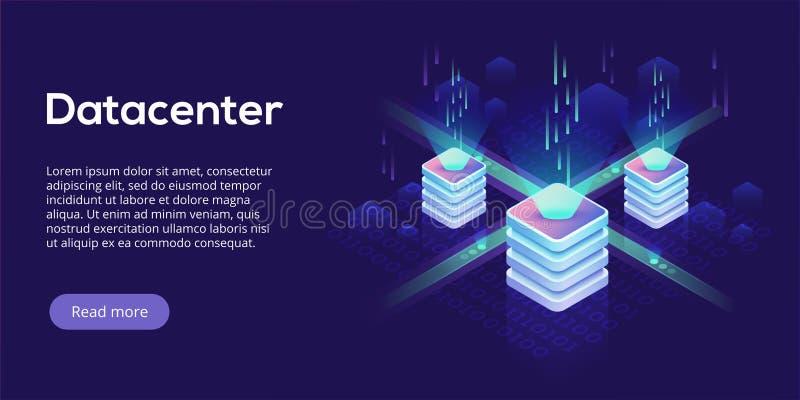 Datacenter isometric vector illustration. Abstract 3d hosting se royalty free illustration