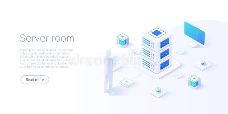 Datacenter isometrische vectorillustratie Abstracte ontvangende server of datacentrumruimteachtergrond Netwerk of centrale verwer vector illustratie