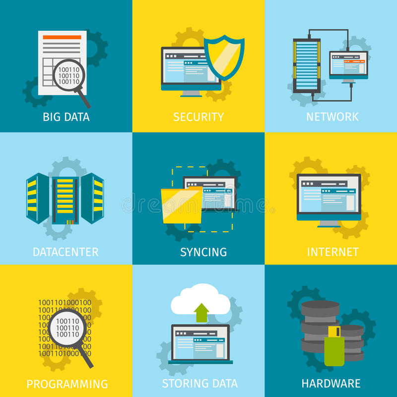 Datacenter linii ikony set royalty ilustracja