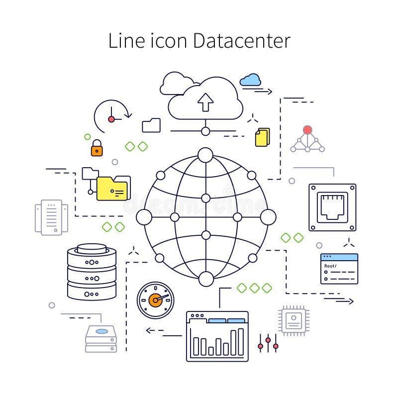 Datacenter linje illustration royaltyfri illustrationer