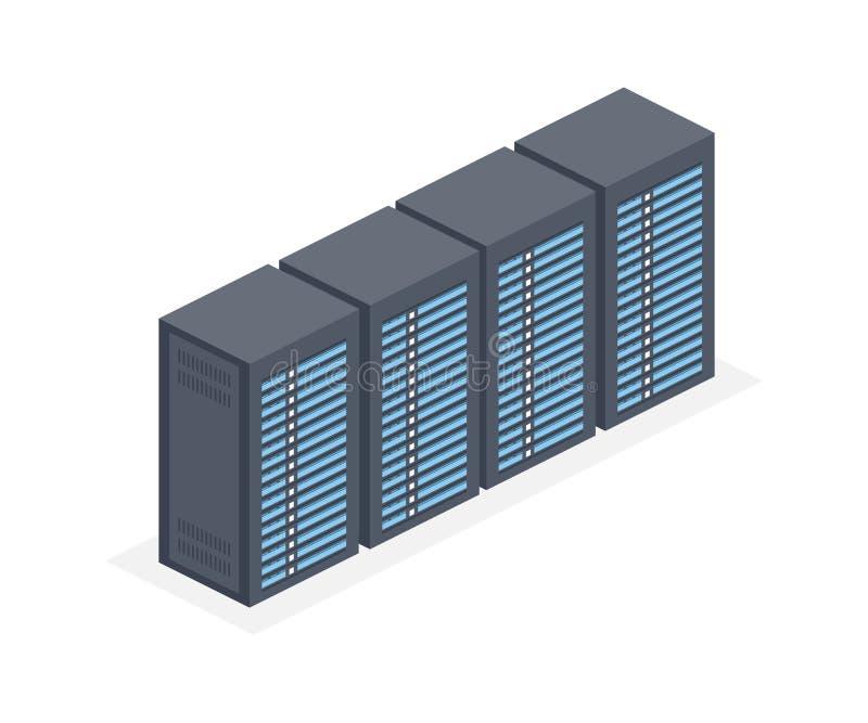 Datacenter med serveren racks den isometriska symbolen 3D Internetnätverksutrustning, molndatabastecken vektor illustrationer
