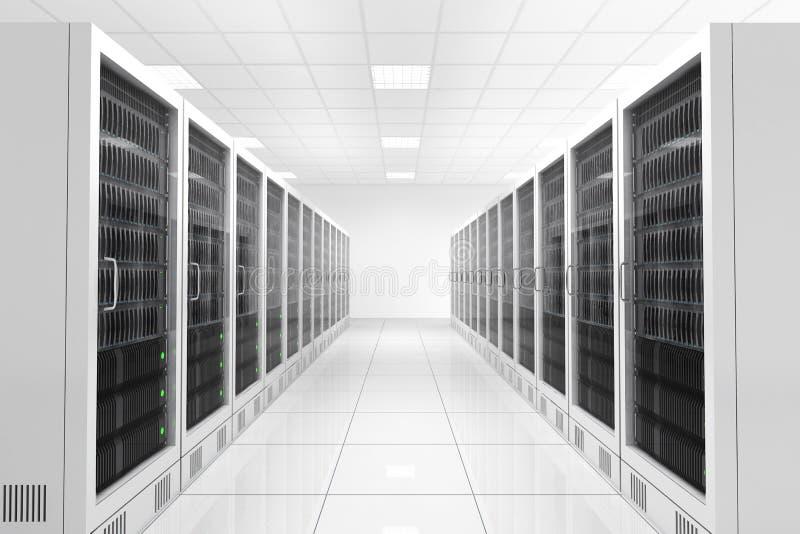 Datacenter med två rader vektor illustrationer