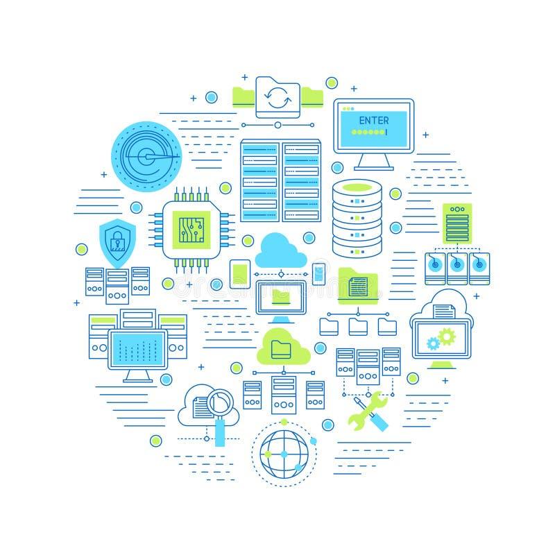 Datacenter Round Composition stock illustration