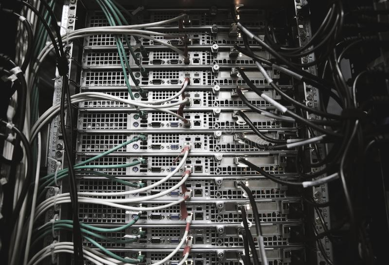 Server rack with cables royalty free stock image