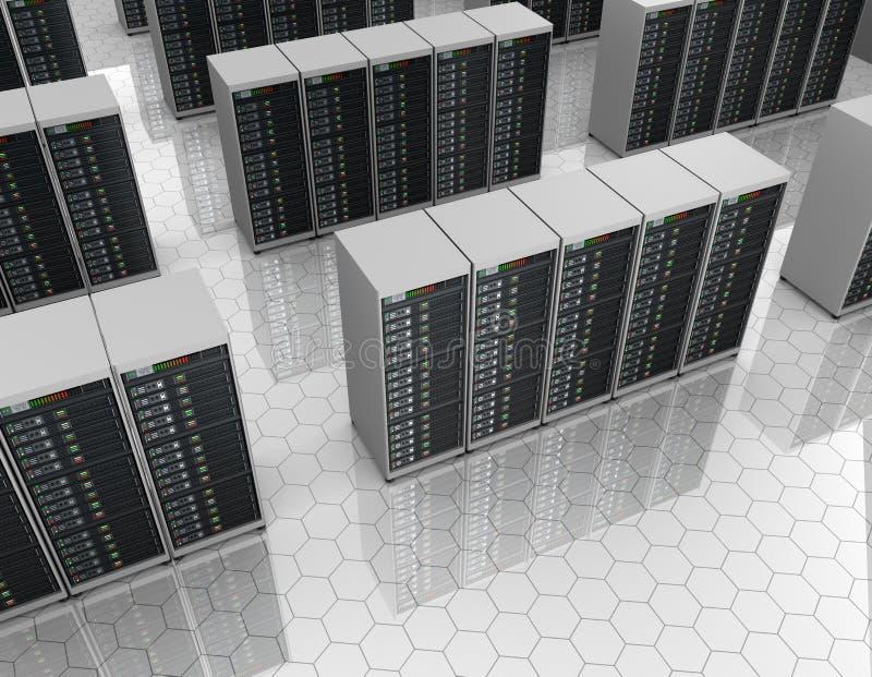 Datacenter: serverrum med serveren samla i en klunga royaltyfri illustrationer