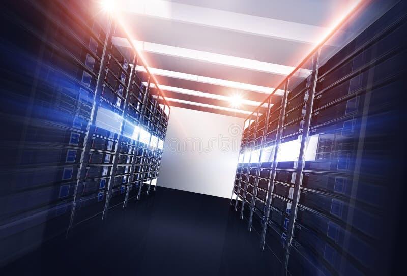 Datacenter serwerów aleja ilustracja wektor