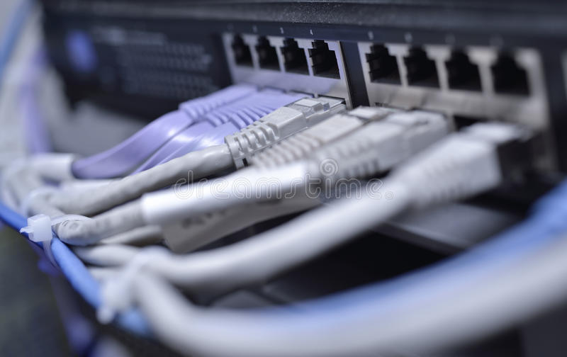 Datacenter switch with utp connections. Datacenter gigabit ethernet hightech high availability and performance switch with utp connections royalty free stock images