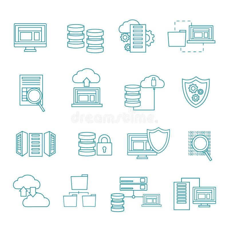 Datacenter symbolsuppsättning stock illustrationer