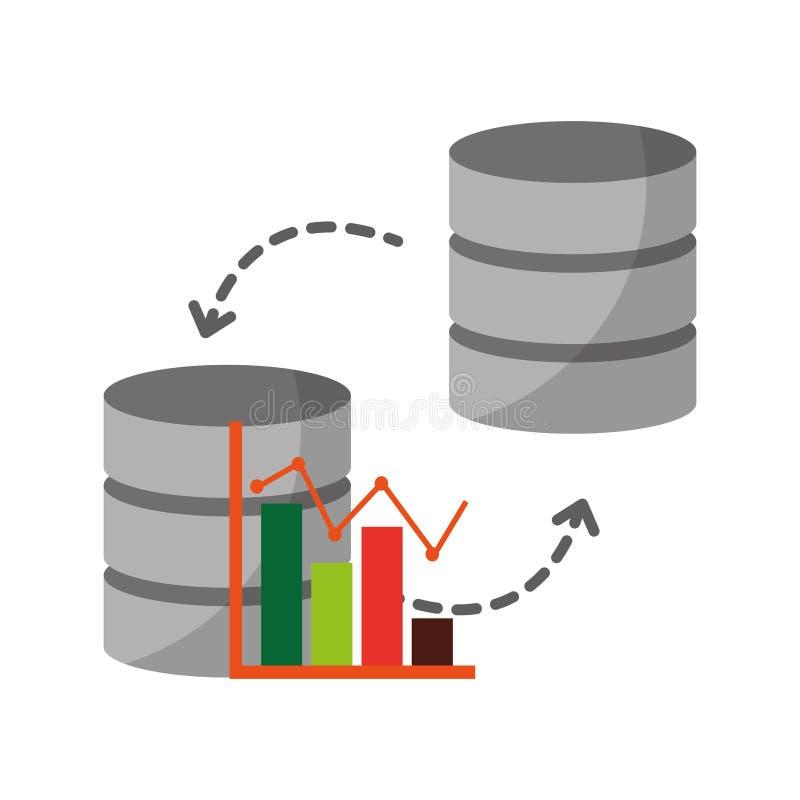 Datacentrumschijven met statistisch grafisch geïsoleerd pictogram royalty-vrije illustratie
