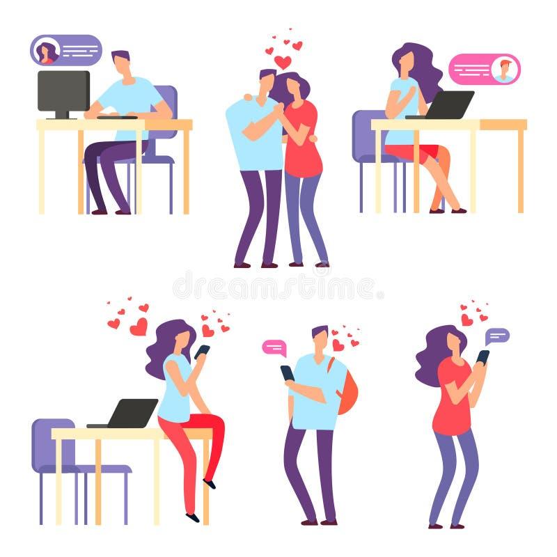 Datación romántica en línea del vector Hombre y mujer, pares lindos usando la aplicación móvil para hablar y relación del amor stock de ilustración