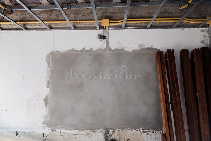 Details of Wall in Construction Process. House Renovation Concept stock images