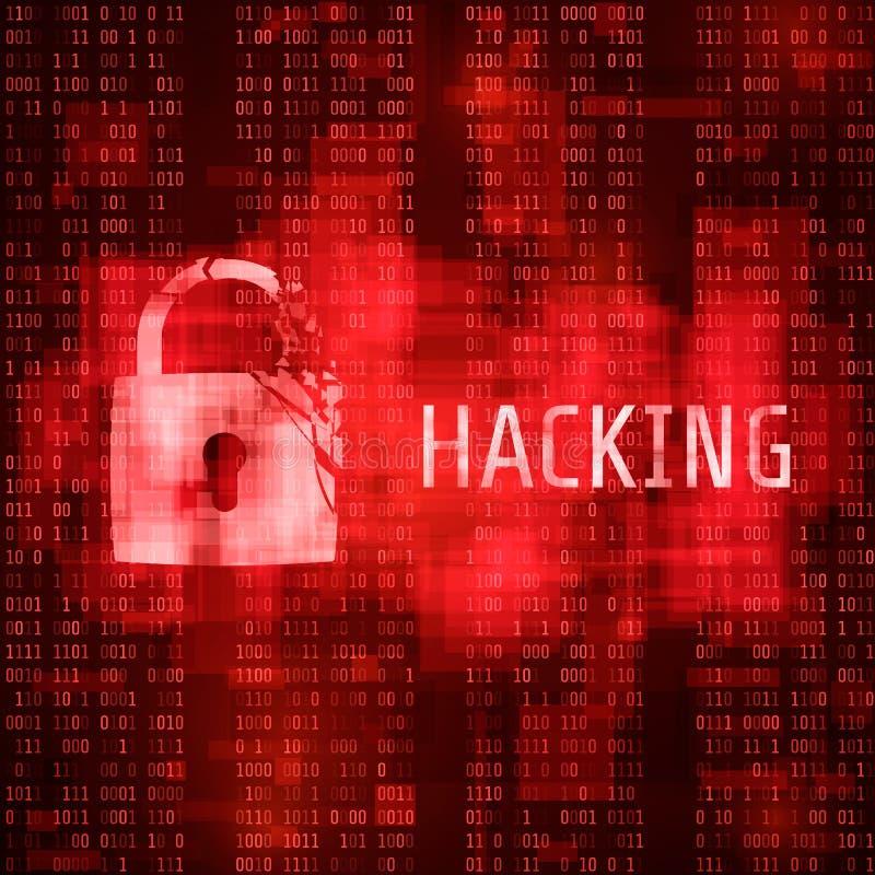 dataintrång En hackercyberattack Hackat program på matriskodbakgrund också vektor för coreldrawillustration royaltyfri illustrationer