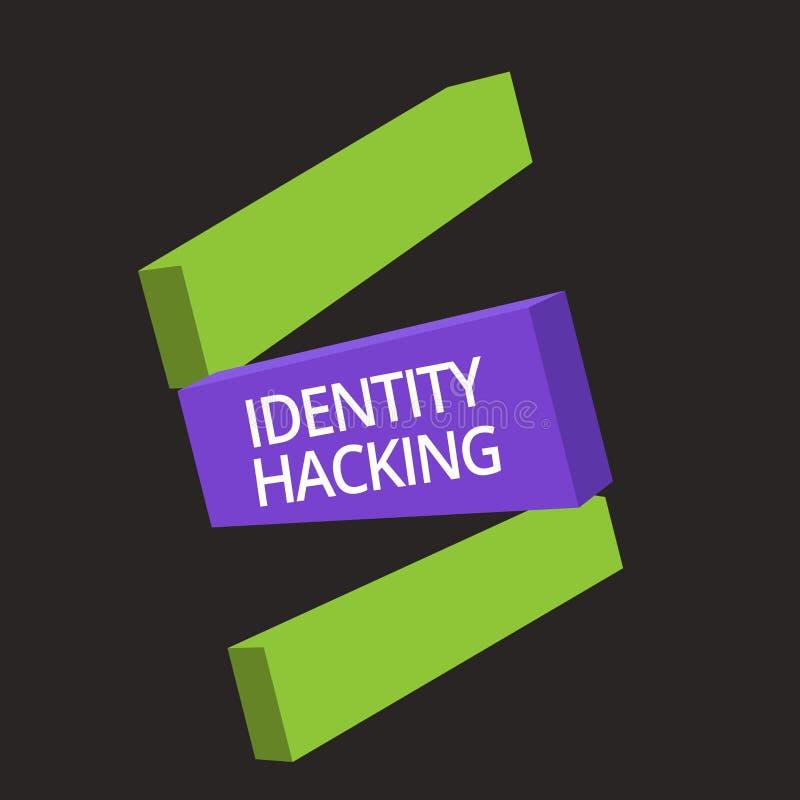 Dataintrång för identitet för ordhandstiltext Affärsidé för brottsling som stjäler din personliga information genom att använda m stock illustrationer
