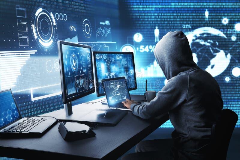 Dataintrång- och malwarebegrepp stock illustrationer