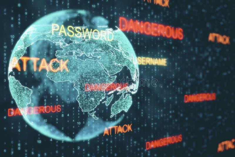 Dataintrång- och malwarebegrepp royaltyfri illustrationer