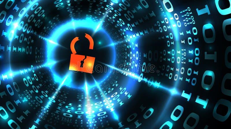 DataintrångADB-system, databas, socialt nätverkskonto Hackat låssymbol på abstrakt datordatabakgrund, datastöld royaltyfri illustrationer