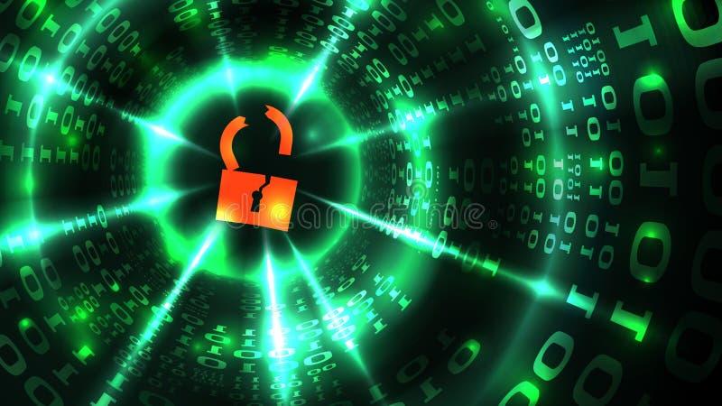 DataintrångADB-system, databas, socialt nätverkskonto Hackat låssymbol på abstrakt programmera för datordatabakgrund royaltyfri illustrationer