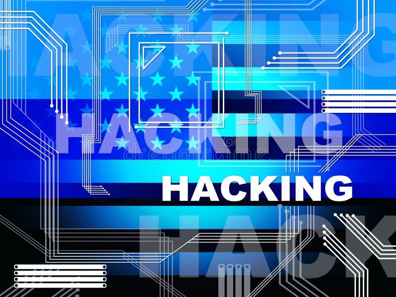 Dataintrångelektronik visar valet hackade illustrationen 3d royaltyfri illustrationer